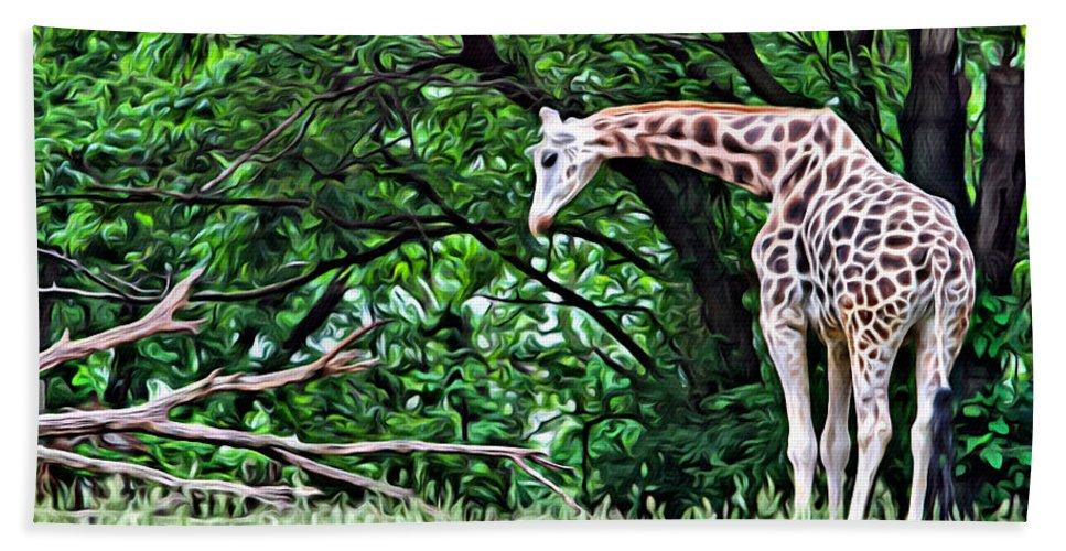 Giraffe Beach Towel featuring the photograph Pensive Giraffe by Alice Gipson