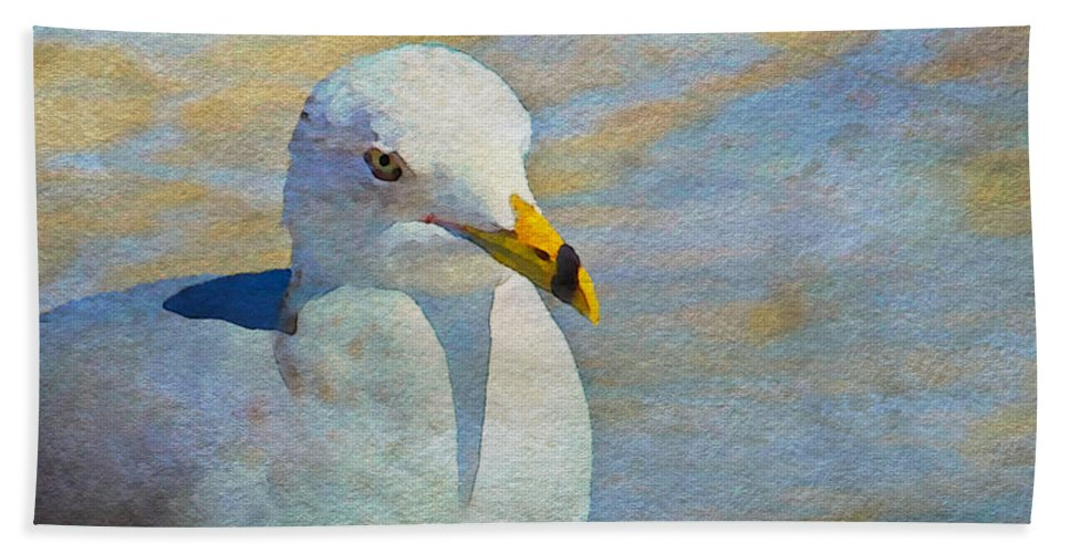 Seagull Beach Towel featuring the photograph Pensive Seagull by Alice Gipson