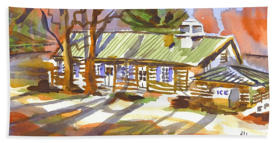 Penuel Lodge In Winter Sunlight Beach Towel featuring the painting Penuel Lodge In Winter Sunlight by Kip DeVore