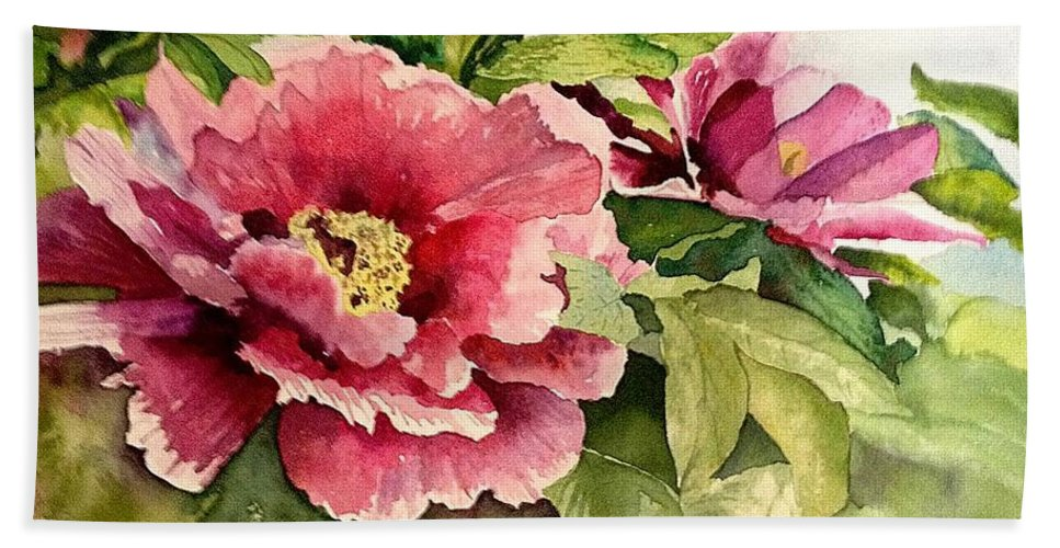 Peony Beach Towel featuring the painting Peony by Nicole Curreri