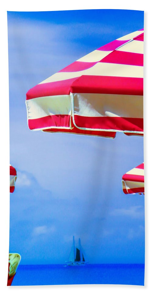 Red And White Beach Towel featuring the photograph Peppermint Beach by Karen Wiles