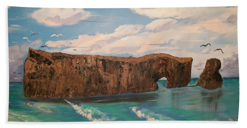 Large Rock.ocean Beach Towel featuring the painting Perce Rock Gaspe Quebec by Sharon Duguay