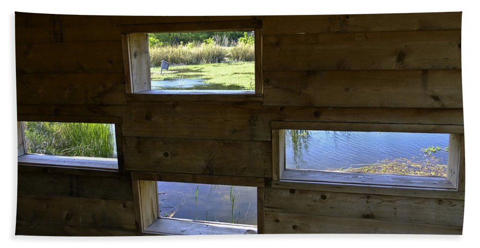 Cedar Hill State Park Beach Towel featuring the photograph Perch Pond Blind by Allen Sheffield