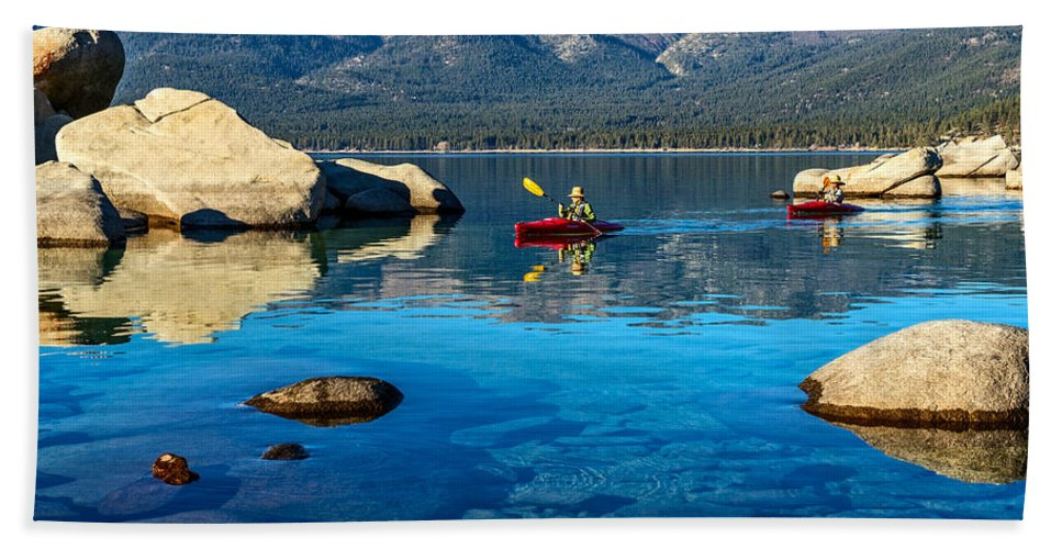 Sand Harbor Beach Towel featuring the photograph Perfect Sunday by Jamie Pham