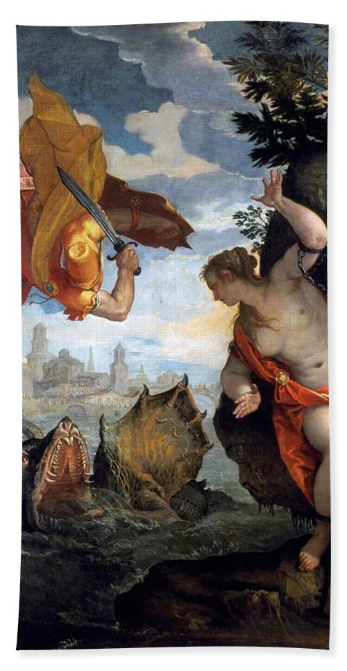 1576-1578 Beach Towel featuring the painting Perseus Rescuing Andromeda by Paolo Veronese
