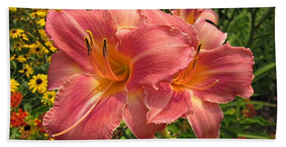 Persian Market Daylily Beach Towel featuring the photograph Persian Market Daylily by MTBobbins Photography