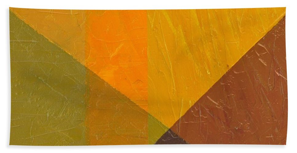 Abstract Beach Towel featuring the painting Perspective In Color Collage 5 by Michelle Calkins