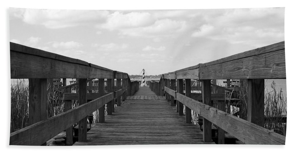 Black And White Beach Towel featuring the photograph Perspective Lighthouse 1 by Denise Mazzocco
