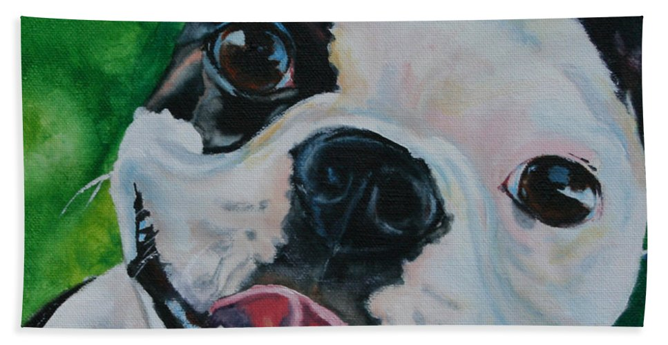 Dog Beach Towel featuring the painting Petey Boy by Susan Herber