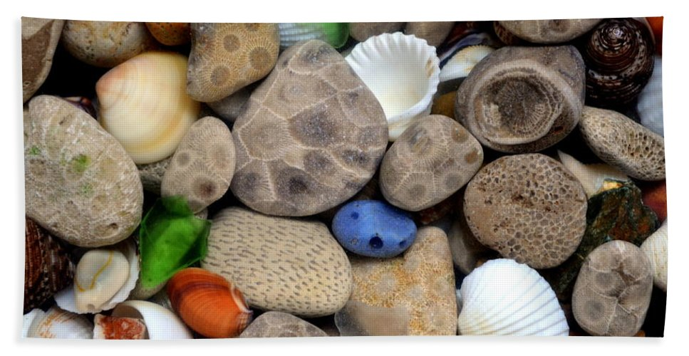 Stone Beach Towel featuring the photograph Petoskey Stones Lll by Michelle Calkins