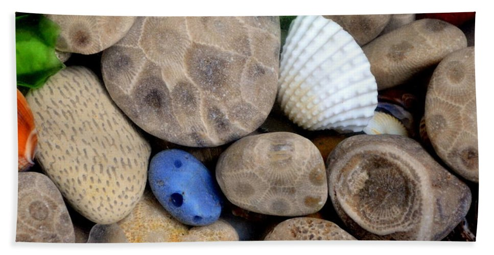 Square Beach Towel featuring the photograph Petoskey Stones V by Michelle Calkins