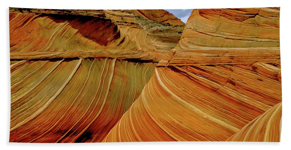Sandstone Beach Towel featuring the photograph Petrified Sand Dunes The Wave by Ed Riche