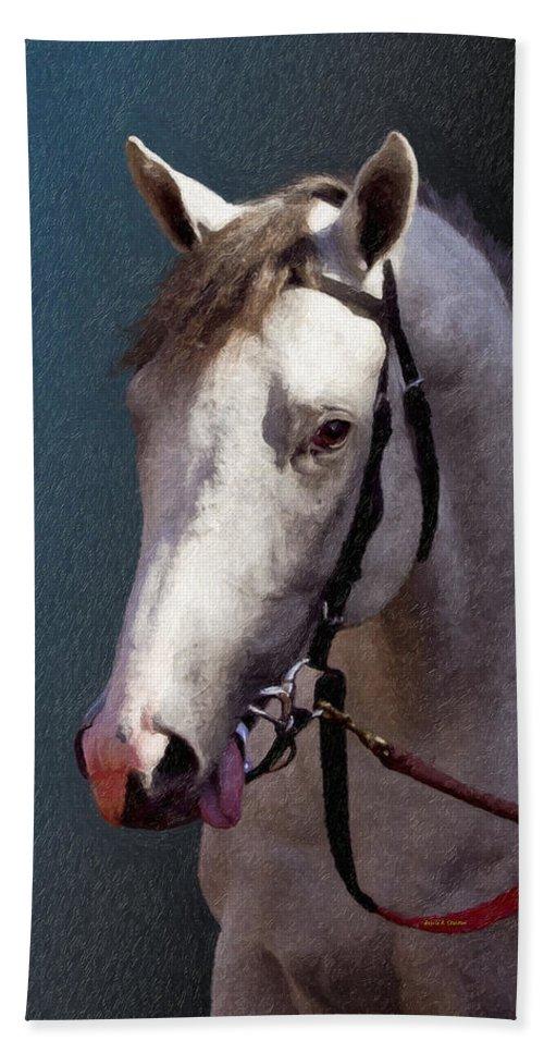 Phantom Lover Beach Towel featuring the painting Phantom Lover - Portrait Of A Race Horse by Angela Stanton