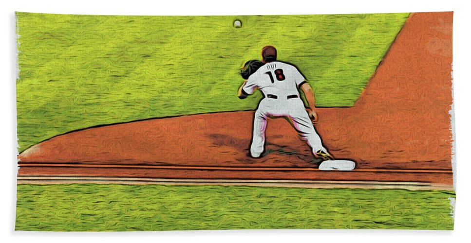 Baseball Beach Towel featuring the photograph Phillies First Baseman by Alice Gipson