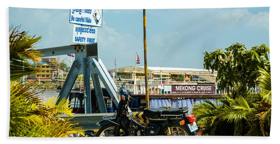 Asia Beach Towel featuring the photograph Phnom Penh Harbour by Mark Llewellyn