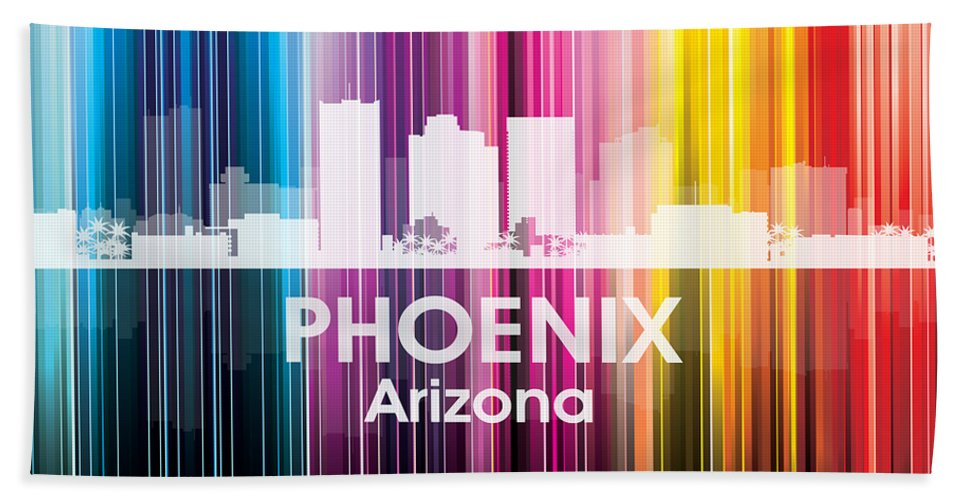 Phoenix Beach Towel featuring the mixed media Phoenix Az 2 by Angelina Vick