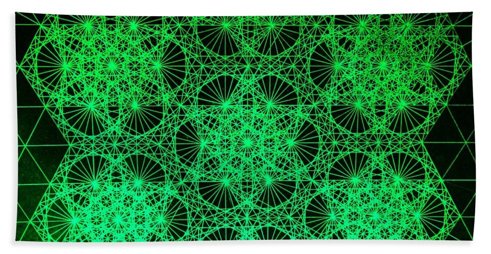 Jason Beach Towel featuring the drawing Photon Interference Fractal by Jason Padgett