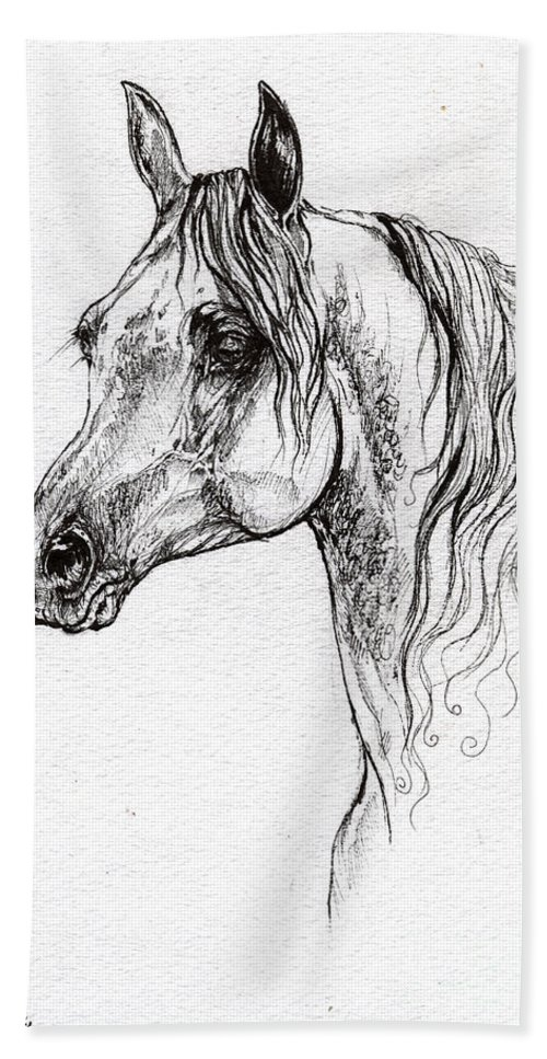 Beach Towel featuring the drawing Piaff Polish Arabian Horse Drawing 1 by Angel Ciesniarska