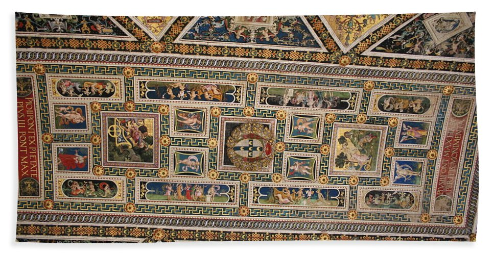 Ceiling Beach Towel featuring the photograph Piccolomini Bibliotheca - Siena by Christiane Schulze Art And Photography