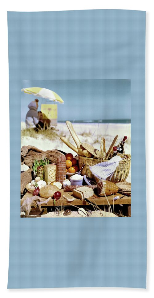 Still Life Beach Towel featuring the photograph Picnic Display On The Beach by Stan Young