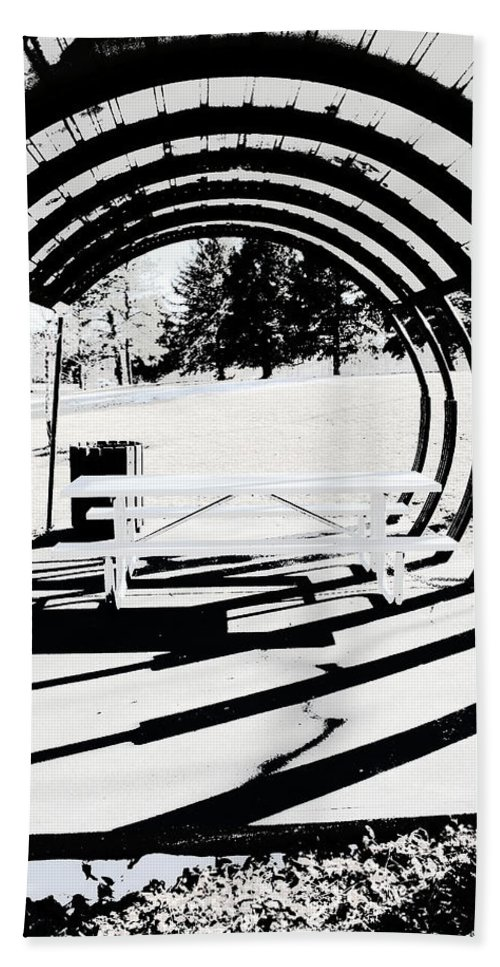 Park Bench Beach Towel featuring the photograph Picnic Table And Gazebo by Ric Bascobert