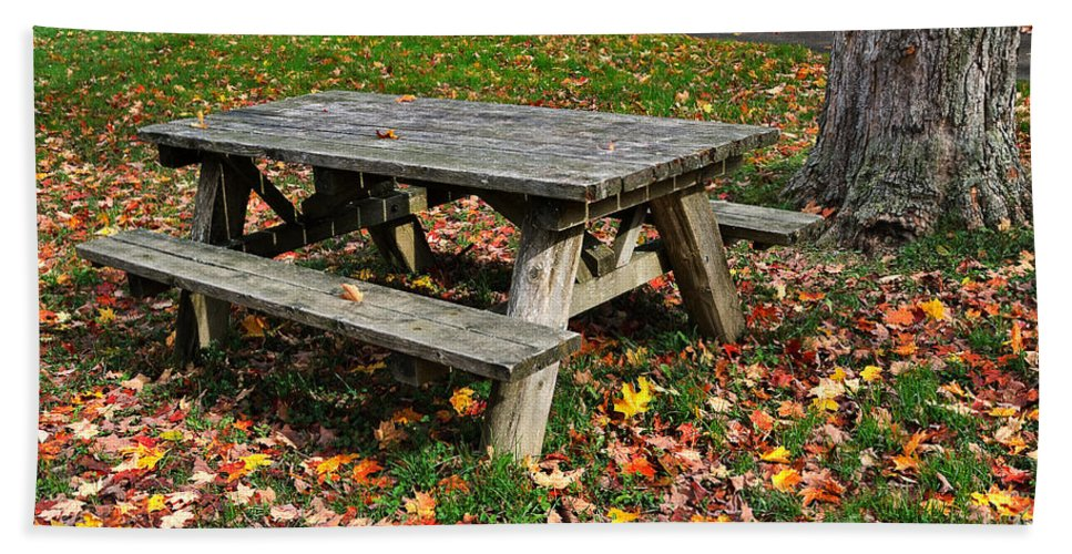 Travel Beach Towel featuring the photograph Picnic Table In Autumn by Louise Heusinkveld