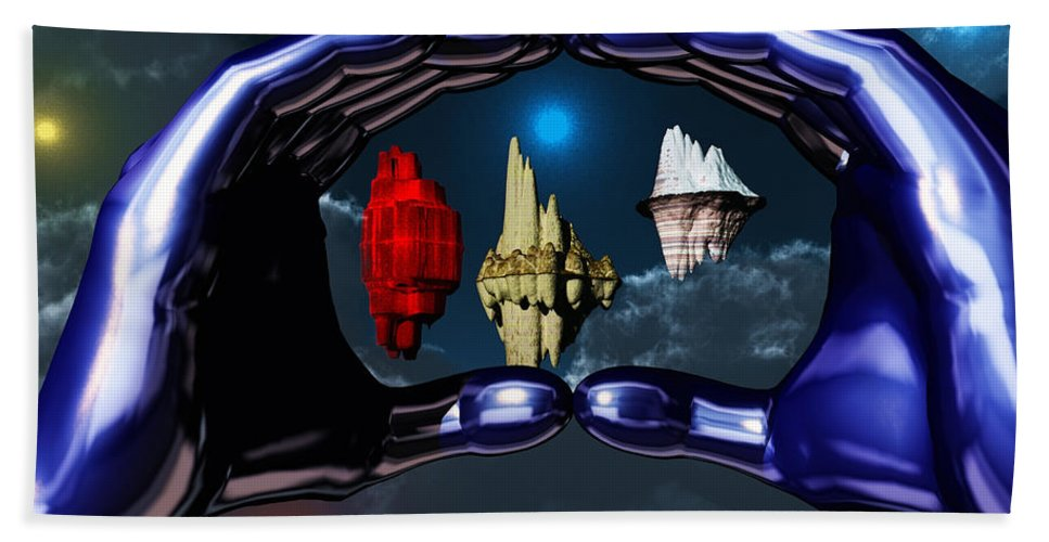 Piece Of Space Beach Towel featuring the digital art Piece Of Space by Eric Nagel