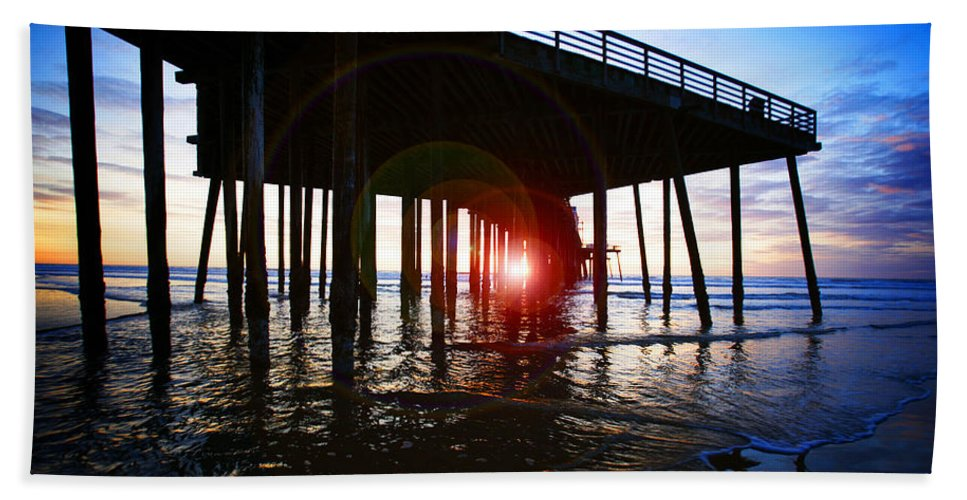 Pier Beach Towel featuring the photograph Pier At Sunset by Jeff Klingler