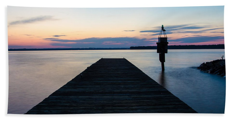 Indian Head Beach Towel featuring the photograph Pier At Sunset by Leah Palmer