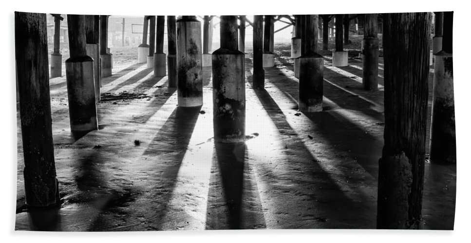Florida Beach Towel featuring the photograph Pier Shadows by Stefan Mazzola