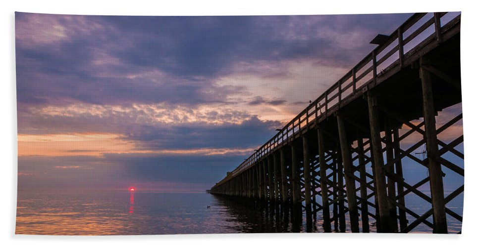 New Jersey Beach Towel featuring the photograph Pier To The Horizon by Kristopher Schoenleber