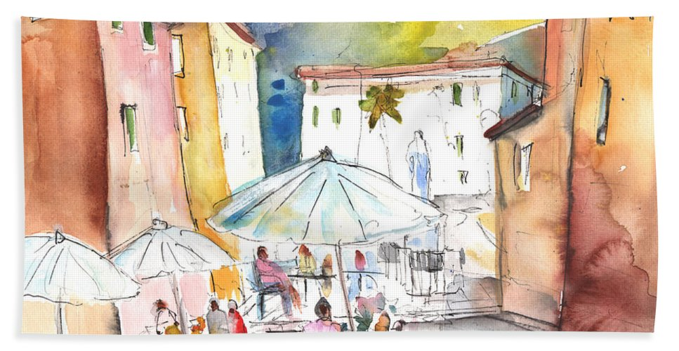 Italy Beach Towel featuring the painting Pietrasanta In Italy 03 by Miki De Goodaboom