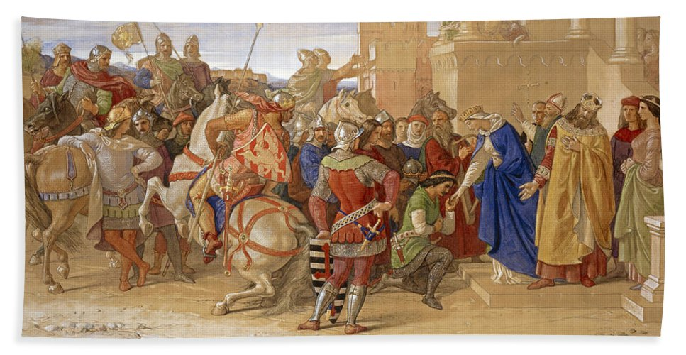 Piety The Knights Of The Round Table About To Depart In Quest Of The Holy  Grail Beach Towel