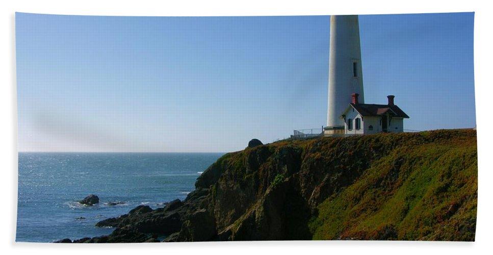 Pigeon Point Light Station Beach Towel featuring the photograph Pigeon Point Light Station by Carol Groenen