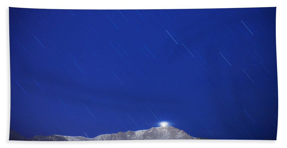 Long Exposure Beach Towel featuring the photograph Pikes Peak Under The Stars by Darren White