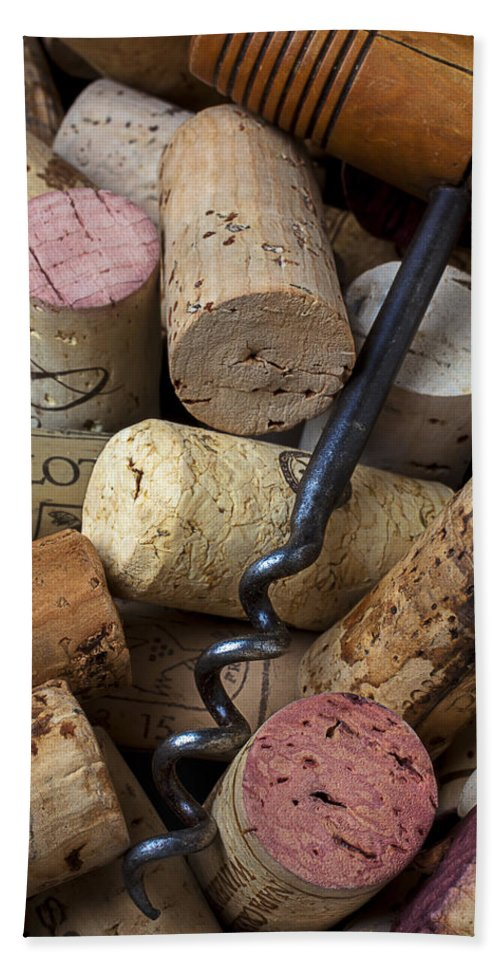 Wine Beach Towel featuring the photograph Pile Of Wine Corks With Corkscrew by Garry Gay