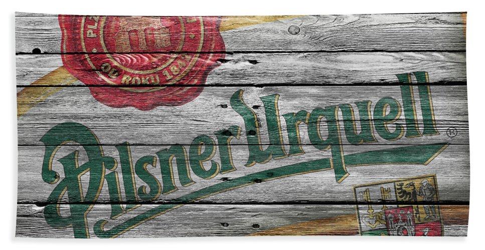 Pilsner Urquell Beach Towel featuring the photograph Pilsner Urquell by Joe Hamilton
