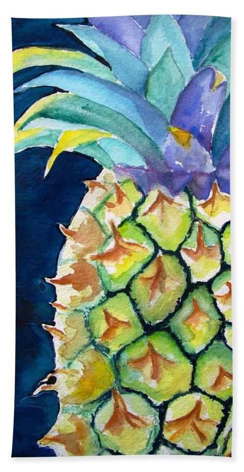 Pineapple Beach Towel featuring the painting Pineapple by Carlin Blahnik CarlinArtWatercolor