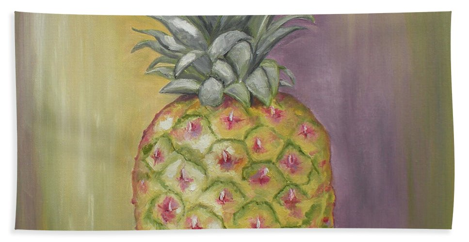 Pineapple Painting Beach Towel featuring the painting Pineapple by Graciela Castro