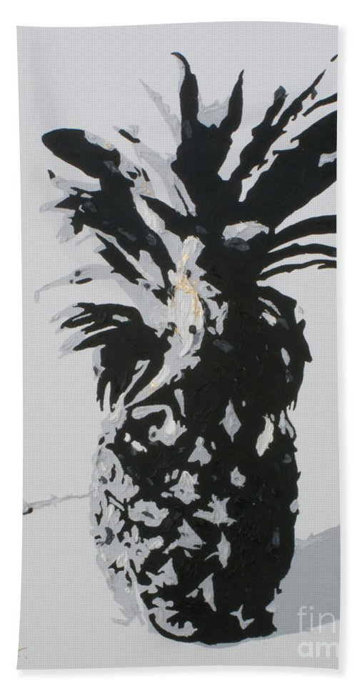 Pineapple Beach Towel featuring the painting Pineapple by Katharina Filus