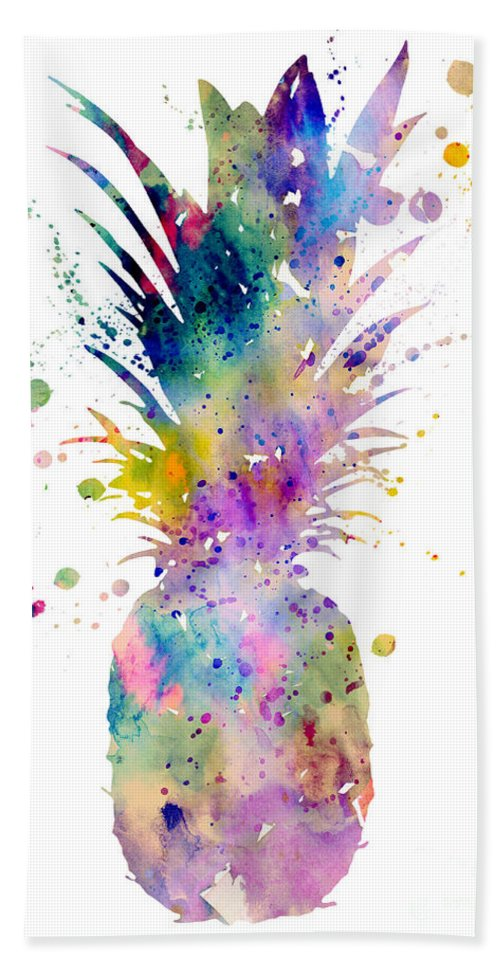 Pineapple Watercolor Print Beach Towel featuring the painting Pineapple by Watercolor Girl