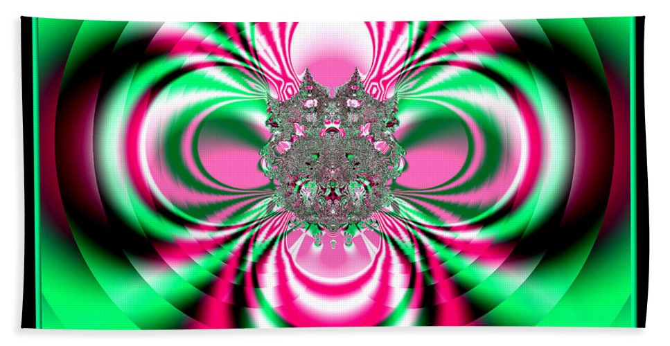 Flower Beach Towel featuring the digital art Pink And Green Rotating Flower Fractal 74 by Rose Santuci-Sofranko
