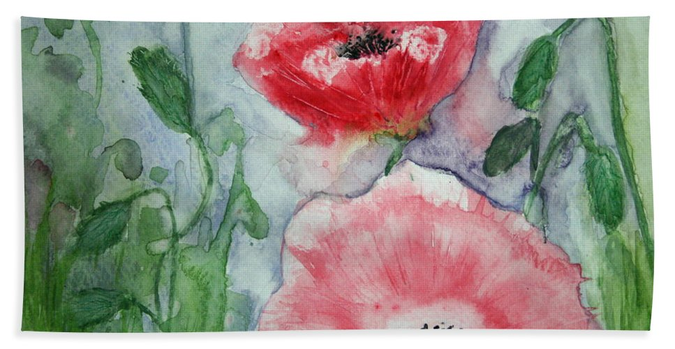 Pink Beach Towel featuring the painting Pink Anemones by Marna Edwards Flavell