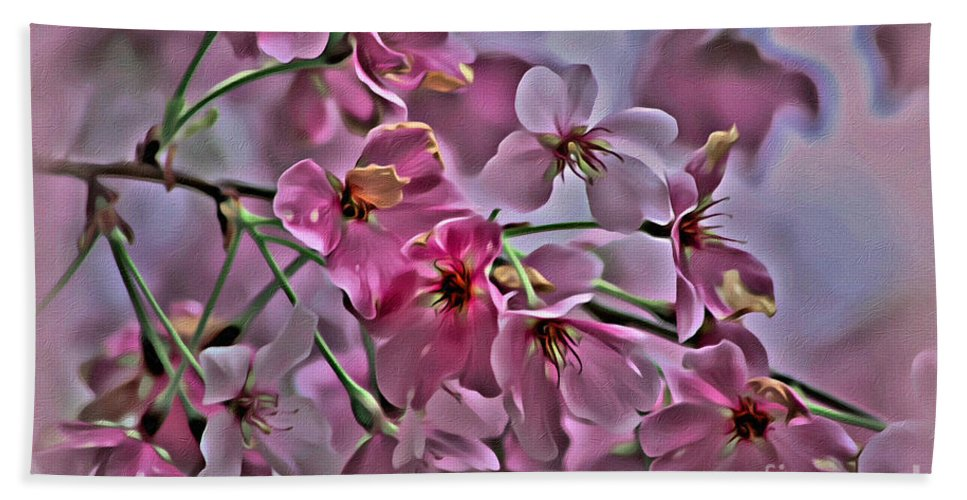Pink Beach Towel featuring the photograph Pink Blossoms - Paint by Scott Hervieux