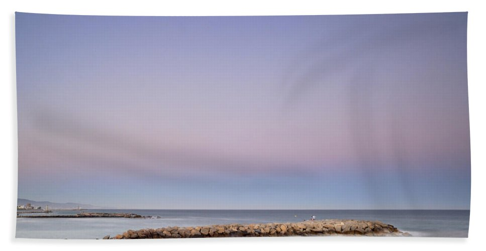 Seascape Beach Towel featuring the photograph Pink Blue Sunset Over Banus by Guido Montanes Castillo