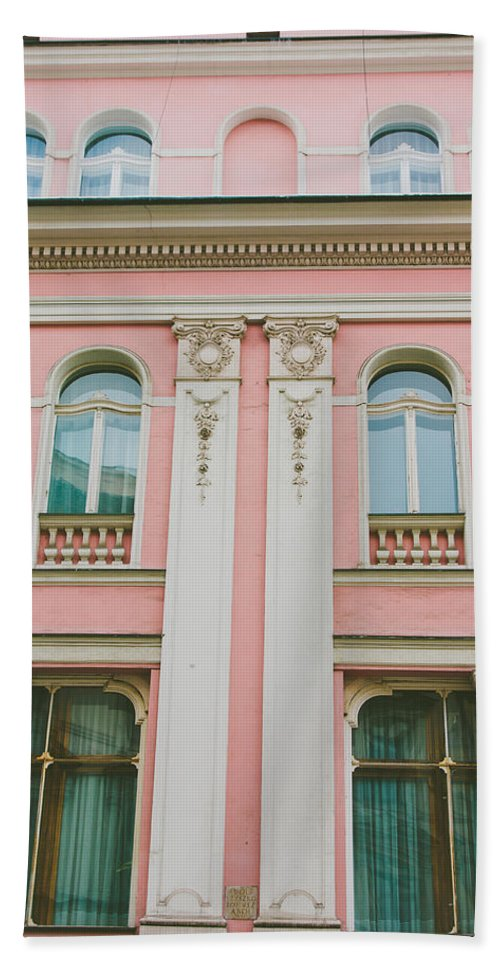 Building Beach Towel featuring the photograph Pink Building by Pati Photography