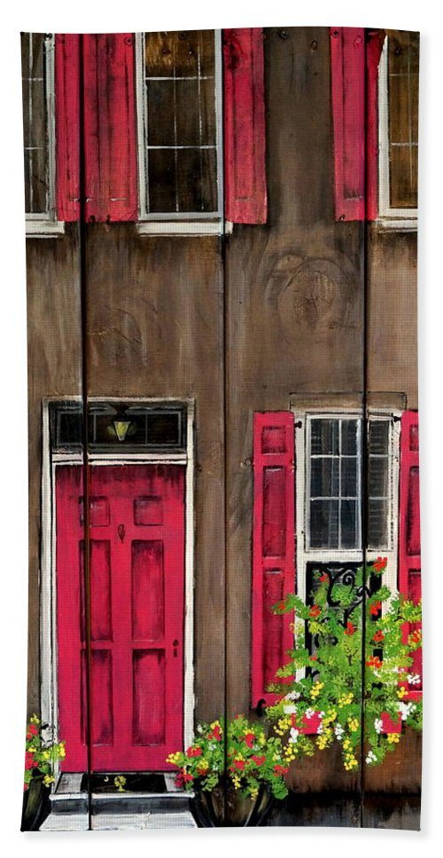 Charleston Beach Towel featuring the painting Pink Door by Ashley Galloway