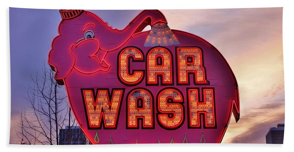 Seattle Beach Towel featuring the photograph Pink Elephant Car Wash by Benjamin Yeager