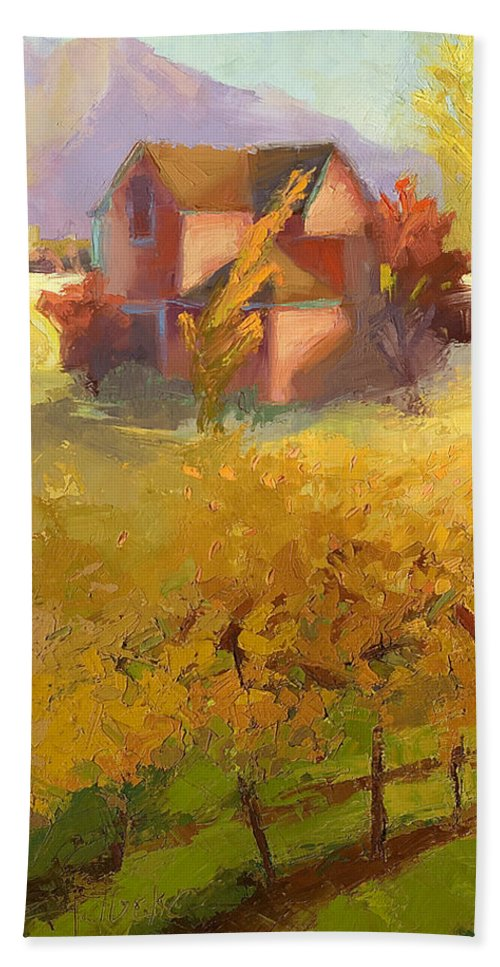 Landscape Beach Towel featuring the painting Pink House Yellow Field by Cathy Locke