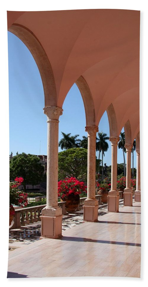 Colonade Beach Towel featuring the photograph Pink Marble Colonnade by Christiane Schulze Art And Photography